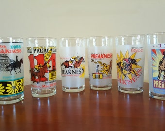 Vintage Official Collectible Preakness Horse Racing Glasses