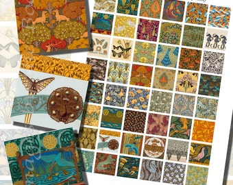 Art Nouveau Printables by Maurice Verneuil, ONE INCH SQUARES (25 mm), with 1/2 inch (13mm) and 3/4 inch (20mm) squares also included