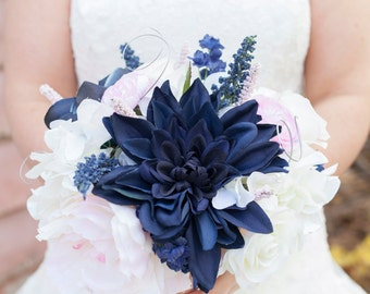 Elegant Navy/Blush/White Bridal Bouquet