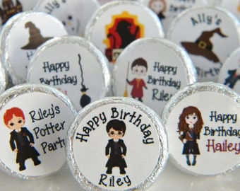 Hershey Kiss Stickers - Birthday Party Favors - Personalized Harry Potter Favors - Harry Potter Hershey Kiss Stickers - Wizard Party Favors