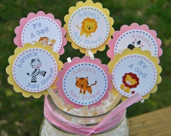 Baby Shower Cupcake Toppers  - Personalized Baby Animal Cupcake Toppers - Baby Animal Birthday Cupcake Favors -Baby Shower Favors