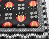 Fat Quarter Bundle, Nordica by Jeni Baker, Art Gallery Fabrics, Orange and Yellow, Flowers, Black and Gray,  Cotton Sewing Material