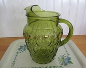 Anchor Hocking Green Glass Pitcher Madrid Pattern
