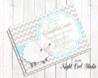 Lamb Baby Shower Invitation-Sheep-Little Lamb-Lil Lamb-Girl-Boy-Neutral-Baby Shower-Printable