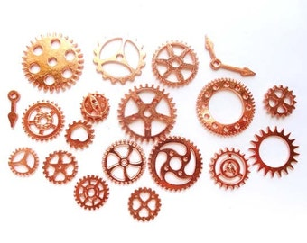 20 Rose Gold Plated Steampunk Gears - 21-40-2