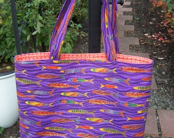 Brightly Colored Fish Tote Bag