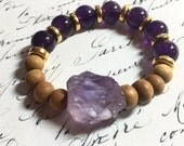 Amethyst & gold gemstone bracelet, mala bracelet natural sandalwood and raw amethyst new age yoga bracelet chakra energy