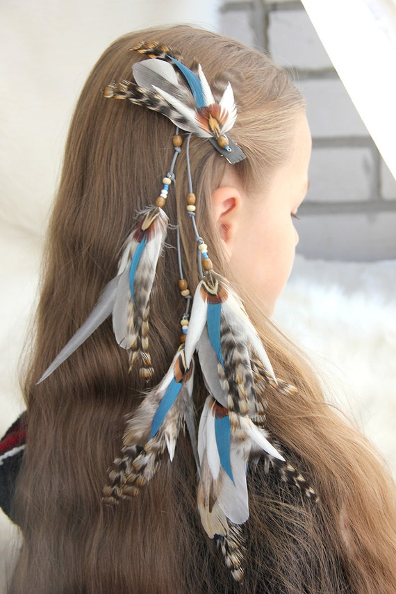 Blue Feather Hair Clip Light Blue And White Hair Extension