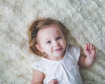 Hair Bow - Gold Polka Dot Bows - Hair bows for toddlers to Adults - Gold and off-white Bows - Polka Dot Hair Bows