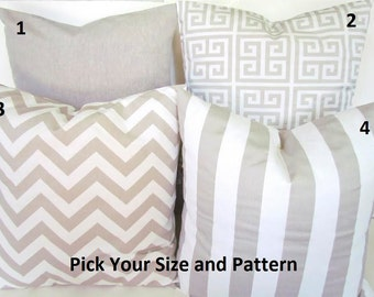 TAN PILLOWS TAN Throw Pillows Tan Decorative Throw Pillow Covers taupe greek key Tan Pillow Covers 16x16 18 20 Home and Living Home Decor