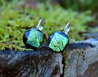 Dichroic glass stud earrings with silver plated hooks