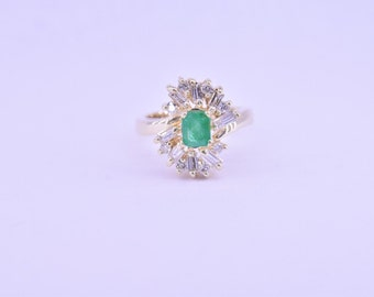 CLOSEOUT 14K yellow gold emerald and diamond ring