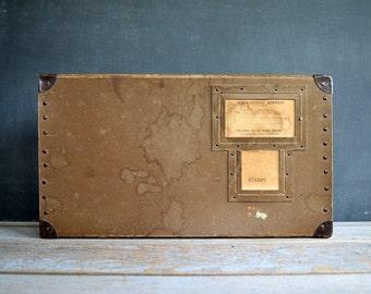 Vintage Fiberco Laundripak Shipping Box | Vintage Storage Box | Metal Corners | Military Shipping Box | Army Collectible