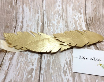 Sparrow Metallic Gold Felt Feather Halo or Headband