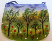 Small purse Hand painted Silk accessory. Unique Gift Under 30.  Woman Mom Wife. Made in the Hudson Valley. The Orchard