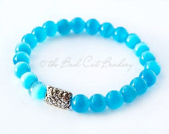 Boho Beaded Stretch Stack Bracelet Blue Cat Eye with Silver Faux Clasp