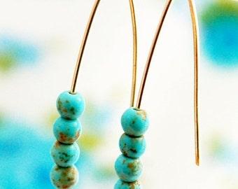 Turquoise earrings, gold earrings, simple gold earrings, long earrings, delicate earrings, everyday earrings,wedding, bridesmaid earrings