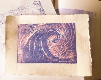 Ocean print Wave print Lino cut wave print. Two Layered print on beautifull hand made paper. Surf life ride the wave good vibes