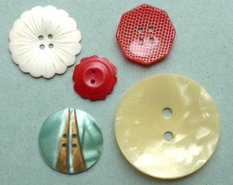 Celluloid wafer buttons, vintage.  5 different, octagonal, crimped, round - floral, chequered, striped. c 1920's.
