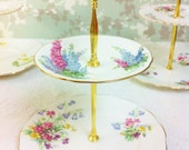 Reserved for Claire  various china Pretty Floral Spray 2 Tier Cake Stand, 1950s