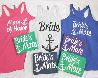7 Nautical Bridesmaid Tanks, Bachelorette Nautical Themed, 7 Wedding Cruise Tank Tops, 7 Brides Mates, Mate of Honor, bride anchor tank top