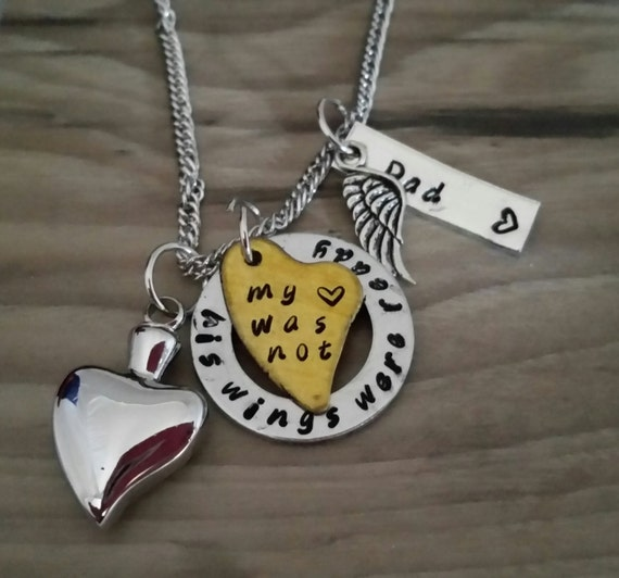 His wings were ready my heart was not memorial necklace loss for Father daughter cremation jewelry
