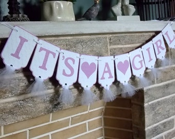 It's A Girl Banner with Hearts, Baby Shower Banner in Lavender and White, Photo Prop, Baby Shower Decoration, Birth Announcement