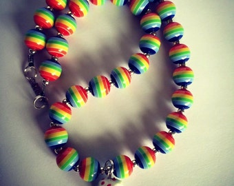 FREE Shipping Handmade Rainbow Bead and Cake Necklace