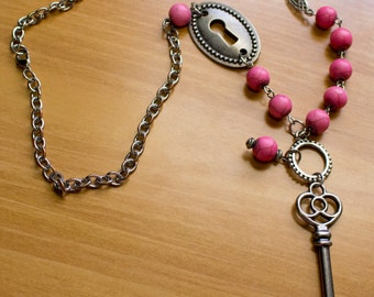 Silver and Pink Beaded Lock and Key Necklace