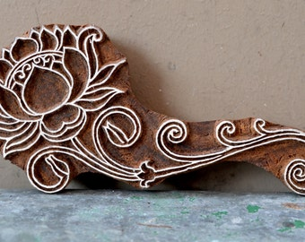 lotus flower wood block textile stamp finely carved traditional Indian Henna wooden