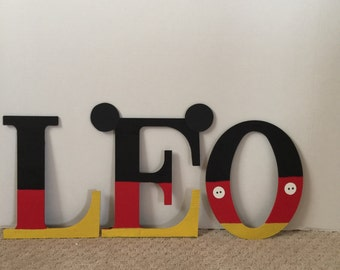 Mickey mouse theme wooden letters.