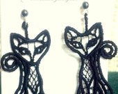 Cat Lover Jewelry - Black Cat Earrings - Cat Lover Earrings - Machine Embroidery Lace - Hand Made Sterling Silver Earrings