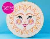 Embroidery Pattern - Let The Sun Shine In - PDF Instant Download, 8 inch Hoop, Hoop Art