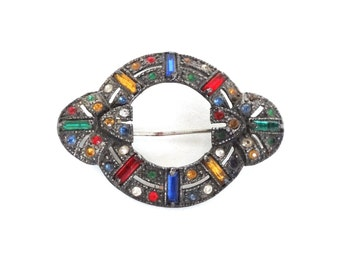 Antique Art Deco Pin Brooch Colorful Multi Color Rhinestones Silver White Pot Metal 1920s 1930s Flapper Jewelry
