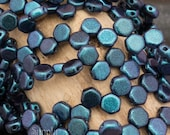 6mm Motley Denim Blue Czech Glass Honeycomb Beads, 3198, Denim Blue Motley 6mm Honeycomb Bead, 30 Beads, Blue Denim Motley Honeycomb Beads