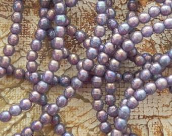 Mother of Pearl 4mm Druk Bead - 2501 - 4mm Czech Glass Druk Round Bead - Purple Druk Beads - 50 Beads