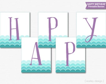 Mermaid Banner Printable Mermaid Party Decor Mermaid Birthday Decor Mermaid Decorations Splash Party Banner Pool Party Banner Pool Banner