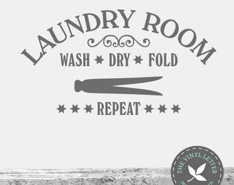 Laundry Room Wash Dry Fold Repeat Vinyl Wall Decor Decal Sticker
