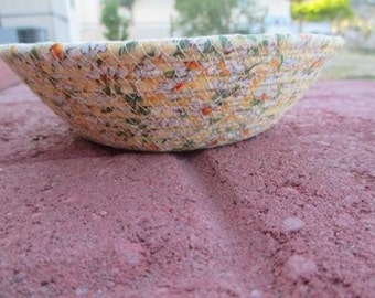 Daisy fabric covered clothesline corded bowl