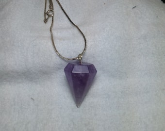 Amethyst Crystal Stone Pendulum Silver Tone Necklace