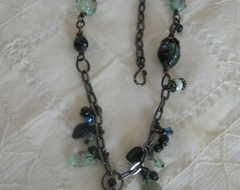 Boho Style Necklace in Green and Black