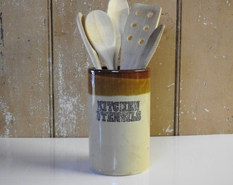 Vintage Utensil Jar ~ Vintage Stoneware Kitchen Utensil Holder Container Two Tone Brown & Tan Pottery Rustic Farmhouse Country Cottage Decor