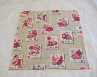 Vintage seed packet fabric, pink flowers fabric, floral fabric, cotton