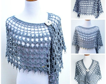 Crochet Pattern for Evening Shimmer Wrap poncho, convertible, PDF 14-158 INSTANT DOWNLOAD