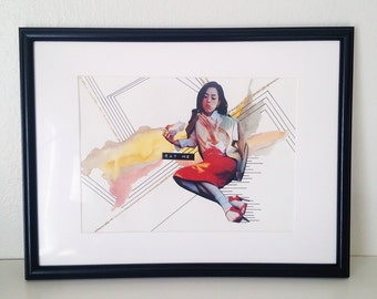 Girl Time No. 5 - Original Mixed Media Collage in Custom Frame