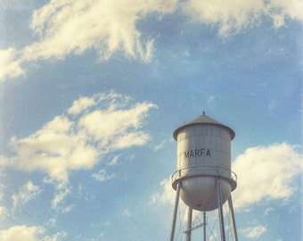 Marfa Water Tower - decorative photography print - wall art - home decor - Marfa, Texas photo - West Texas clouds and sky - blue - square
