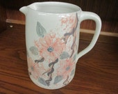 Large Paul Storie Pottery Pitcher Marshall, Texas Dogwood Floral Design