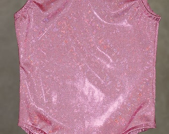 Gymnastics Leotards | Dance Leotards -  Pink Ice Fushcia dots Hologram Baby, Toddler and Girl's sizes 18 Months, 2T,3T,4,5,6,7,8,10,12