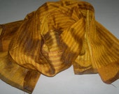 Small Scarf Indian Silk Scarf Neck Scarf Golden Yellow Scarf Striped
