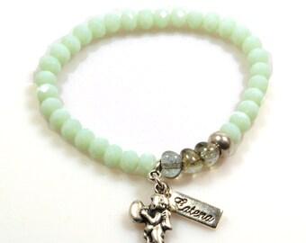Charm bracelet mint green silver with angel - bracelet mix and match - bracelets to combine, women gift under 15 euo, Ibiza bracelets
